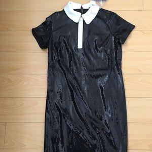 Ann Taylor Women SZ 2 black sequin tuxedo dress